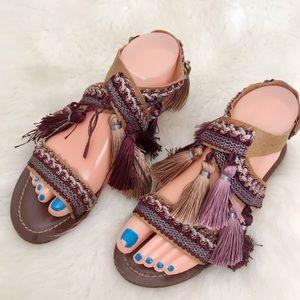 Topshop Fiji Fringe Boho Sandals Size 36